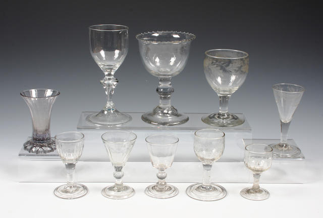 Ten assorted glasses
