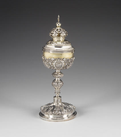 An early 19th century Belgian silver chalice with an associated cover, chalice; maker's mark script