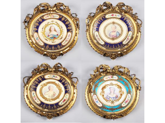 Four Sèvres style cabinet plates