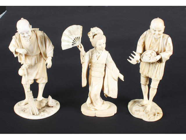 Three Japanese carved ivory figures