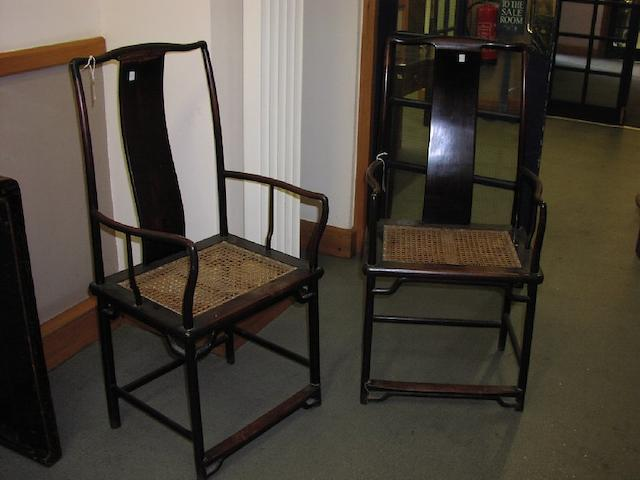 A pair of Chinese hardwood scholar's chairs
