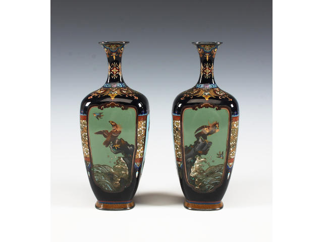 A pair of Japanese cloisonné vases