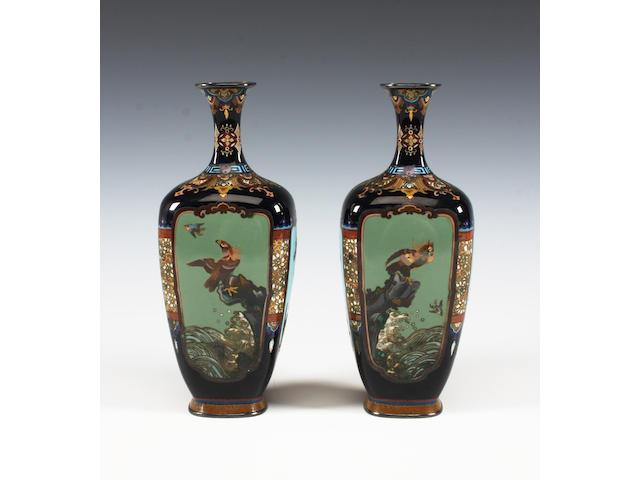 A pair of Japanese cloisonné vases