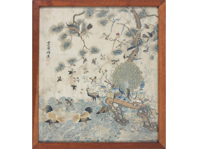 A Chinese embroidered silk picture