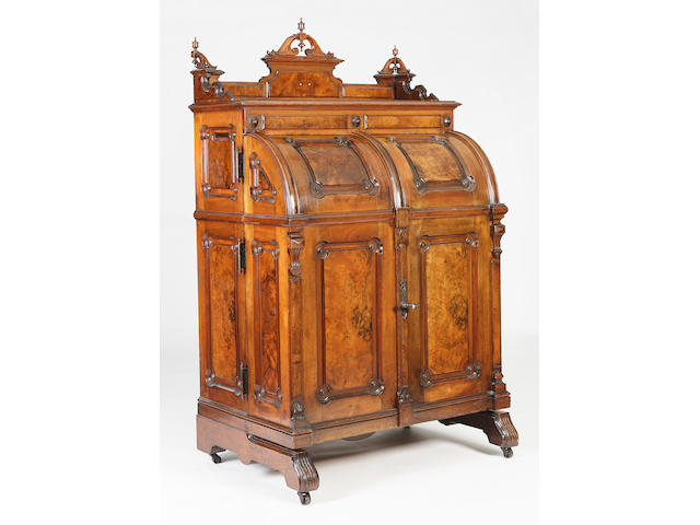 An American late 19th century mahogany and walnut 'Standard Grade' Wooton Patent Desk