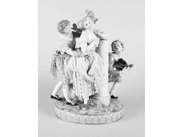 A Meissen figure group of a young girl with two suitors