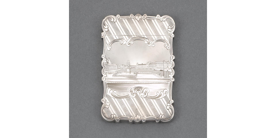 A rare Victorian silver pictoral card case, by Nathaniel Mills, Birmingham 1848,