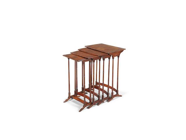 A set of four Edwardian mahogany quartetto tables, circa 1910