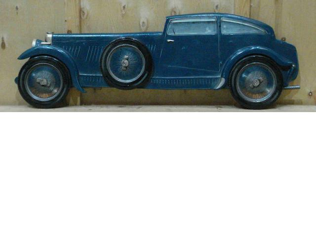 A hand-painted wooden profile of an Eight-Litre 'Blue Train' Bentley,