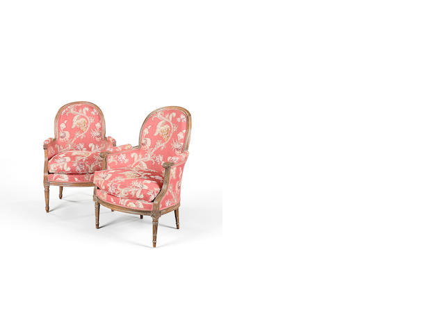 A matched pair of Louis XVI beech bergeres, one by Antoine Gailliard circa 1785