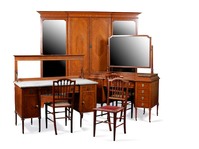 An Edwardian  satinwood and inlaid six piece bedroom suite