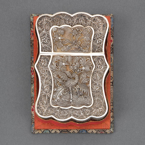 A late 19th century Chinese export silver filigree card case, retailed by Linchun, and another