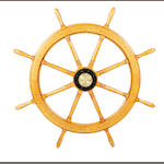 A 19th century oak nine spoke ships wheel
