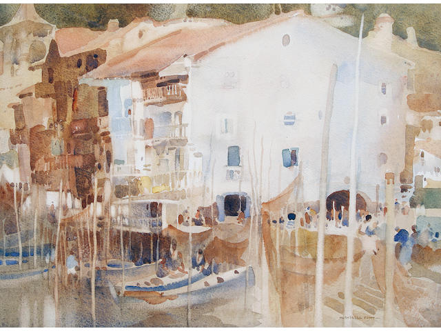 Sir William Russell Flint R.A., P.R.W.S. (British, 1880-1969) A Basque Port