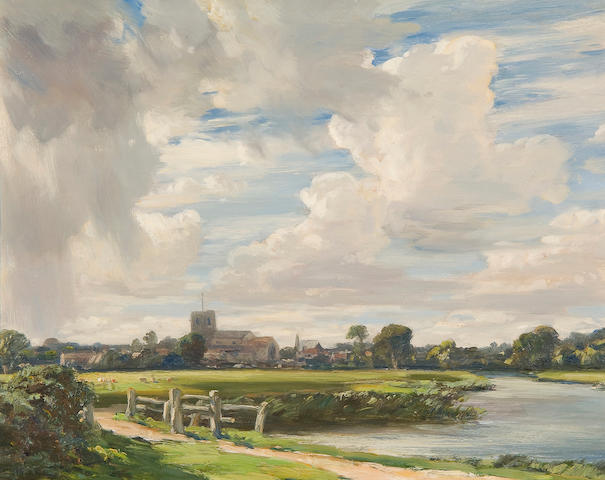 "Arthur A. Friedenson (British, 1872-1955) ""By the River Frome, Wareham"" 31cm x 38cm."