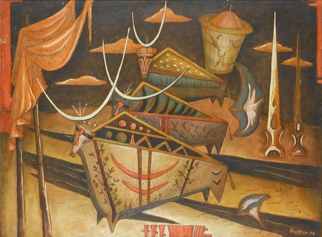 Alexis Preller (South African, 1911-1975) Surreal Minoan bulls