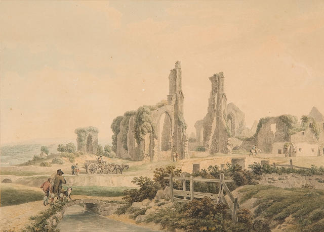 "Michel Angelo Rooker (British, 1743-1801) ""Neath Abbey, Glamorganshire"", and another similar view a pair,"