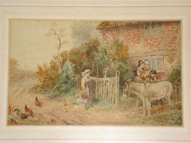 Follower of Myles Birket Foster, RWS (British, 1825-1899) A country scene with sheep on a lane and figures by a gate, and another of children and a donkey by a cottage, a pair,