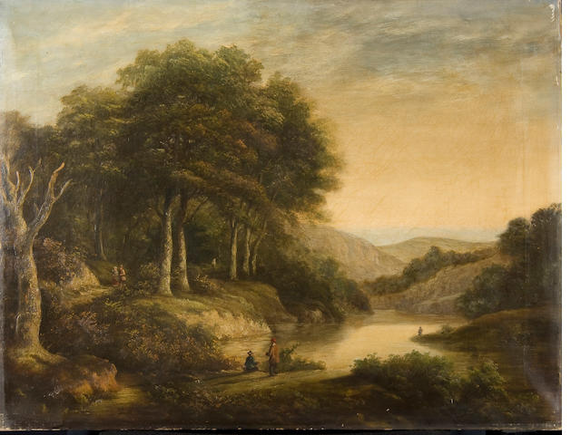 Attributed to William Traies (British, 1789-1872) Wooded river landscape with anglers and figures walking on the bank