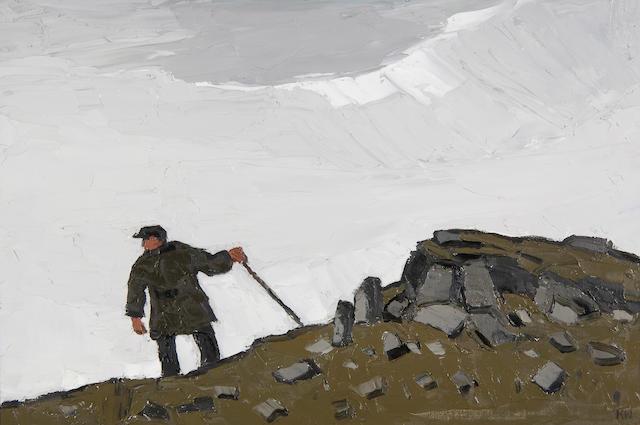 Sir Kyffin Williams, R.A. (British, 1918-2006) Farmer on a hillside