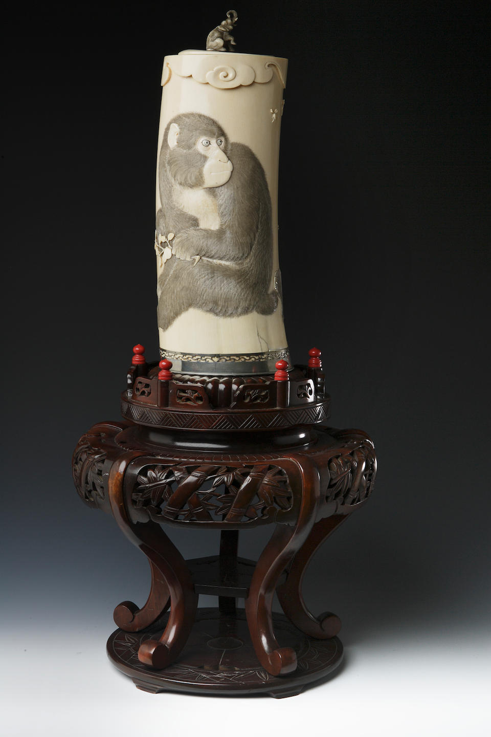 A large ivory tusk vase and cover on stand signature possibly Senpo