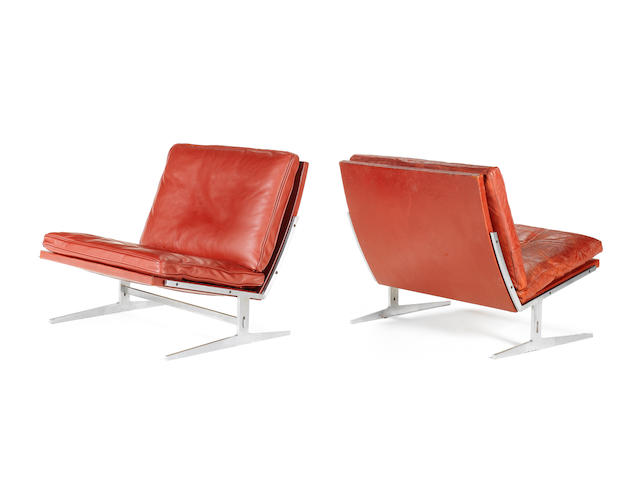 Preben Fabricius and Jørgen Kastholm for Alfred Kill, a pair of easy chairs, designed circa 1968 with red leather leather upholstery and steel frames