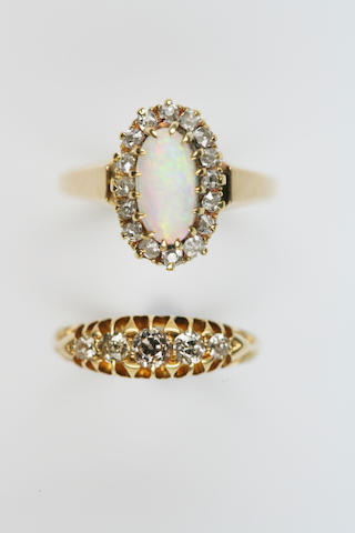 An opal and diamond cluster ring and an early 20th century diamond five-stone ring,