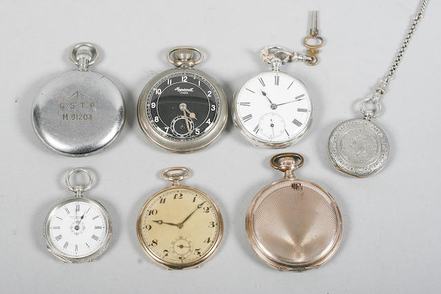 A silver open face pocket watch