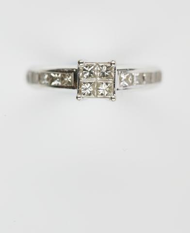 A princess-cut diamond ring