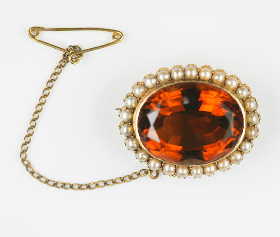 An early 20th century citrine and pearl cluster brooch