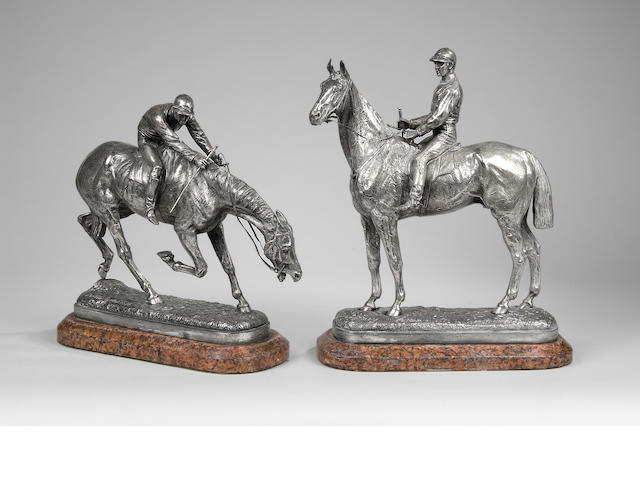John Willis Good (1845-1879): A pair of silvered bronze groups of horse and jockey 'Before' and 'After the Race'