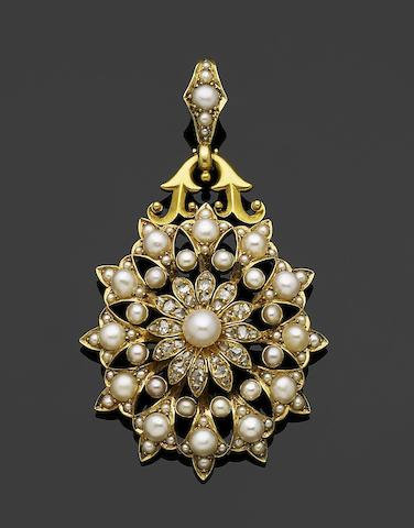A pearl and diamond cluster brooch/pendant