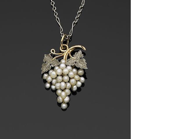 An early 20th century pearl pendant of vinicultural interest