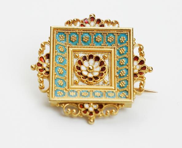 A Victorian enamel brooch, circa 1870s
