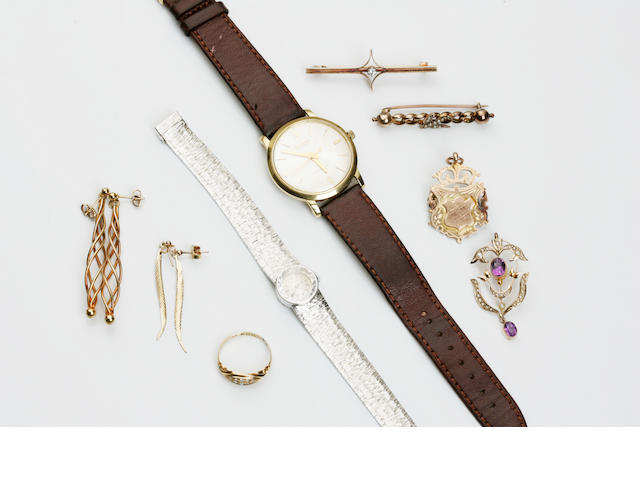 A collection of jewellery including a gentleman's wristwatch, by Bulova and a lady's wristwatch, by Bueche Girod