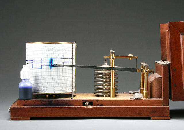 A French mahogany-cased barograph R. F., Paris