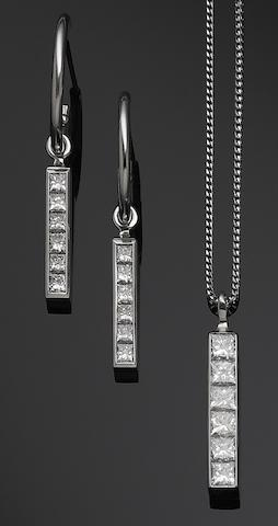 """A suite of princess-cut diamond """"Strip"""" design jewellery, by Theo Fennell,"""