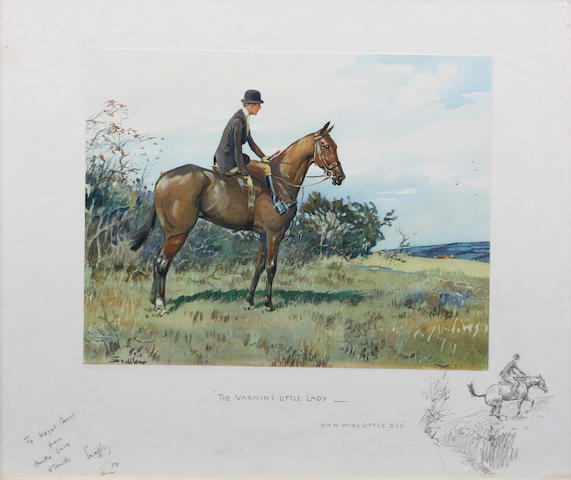 "Charlie Johnson Payne, 'Snaffles' (British, 1884-1967) ""The Varmint Little Lady - On A Wiry Little 'Oss"" 49.5 x 63cm In a later frame."