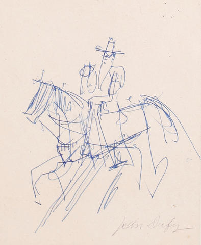 Jean Dufy (French, 1888-1964) Man on horseback together with another pencil sketch by the same hand