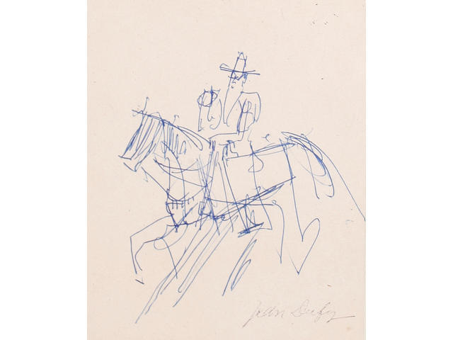 Jean Dufy (French, 1888-1964) Man on horseback together with another pencil sketch by the same hand (2)