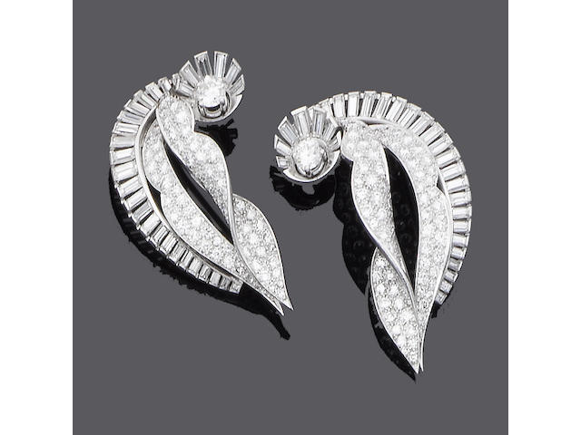 A pair of diamond clip brooches,