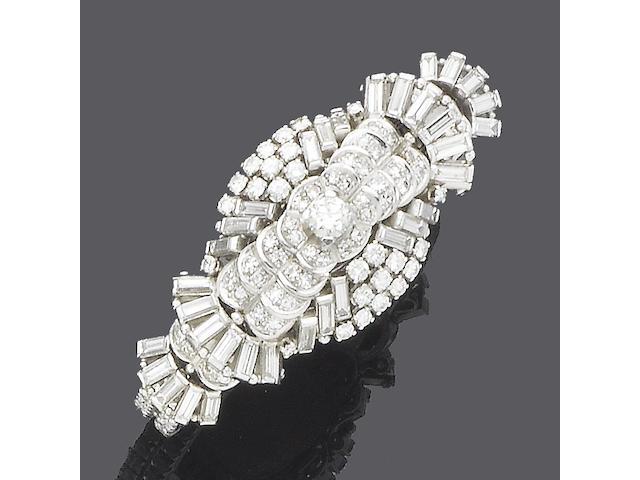 A diamond bangle watch, by Gübelin