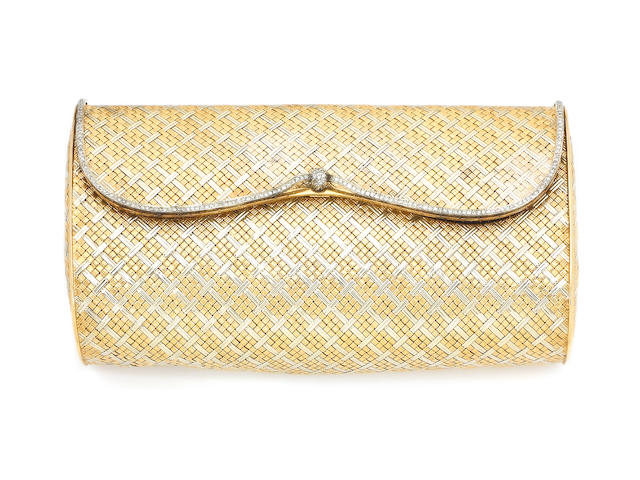 A diamond evening bag and compact,