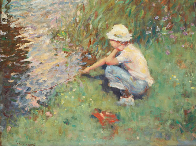 Ken Moroney (British, born 1949) Child with sticks in a river