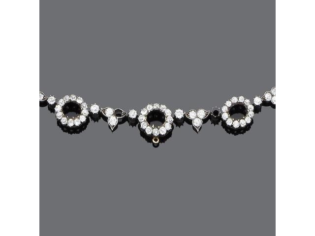 A late 19th century diamond necklace,