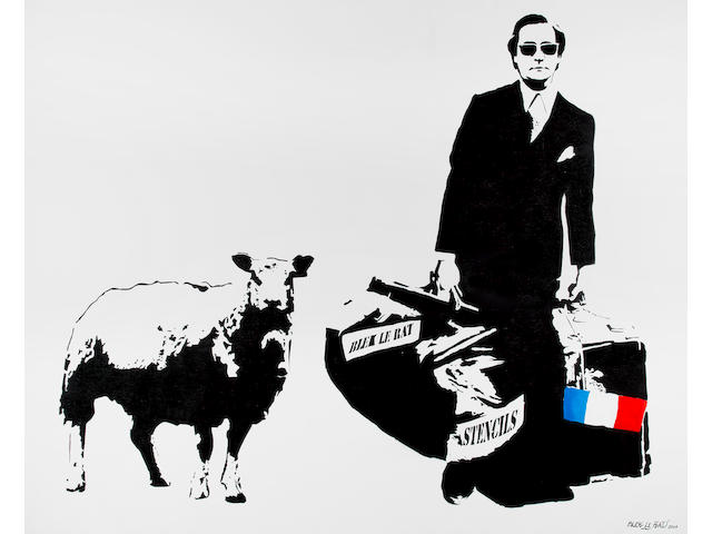 Blek Le Rat (French, born 1952) 'Man Who Walks Through Walls With a Sheep', 2007