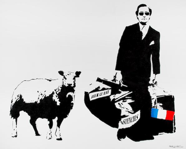 Blek Le Rat (French, born 1952) 'Man Who Walks Through Walls With a Sheep', 2007