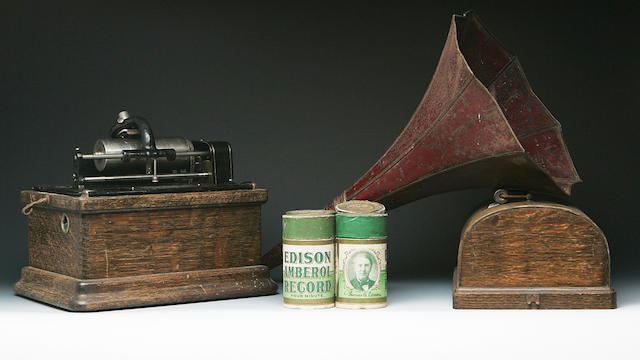 An Edison fireside phonograph and numerous rolls