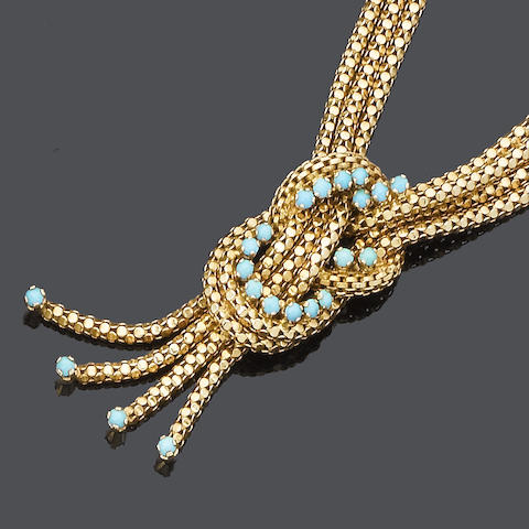 A turquoise necklace, bracelet, ring and earring suite (4) (partiallly illustrated)