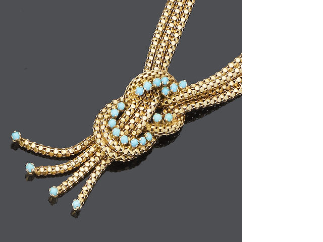 A turquoise necklace, bracelet, ring and earring suite